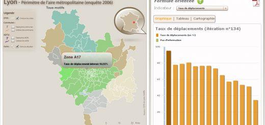 Figure 4. Impression d'écran de l'interface développée sous Adobe Flash, regroupement des secteurs à l'itération n°134 – EMD de Lyon, 2006.