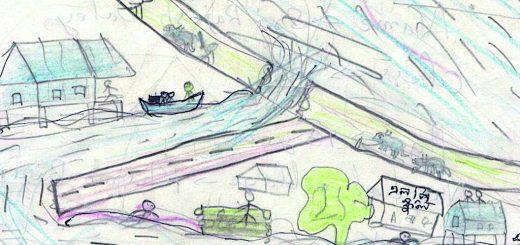 Figure 4. Naresh Doley du village d'Ekoria Matmora, en classe VIII, garçon de 13 ans : « Un paysage où flottent des troncs d'arbre, des animaux dans les eaux des inondations ».