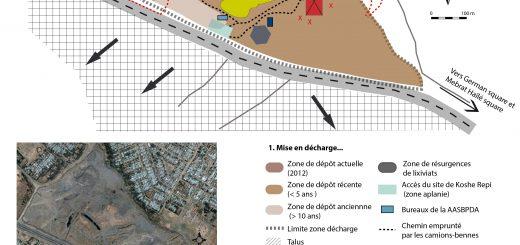 Figure 1. Vue aérienne (en bas) et cartographie (en haut) de la décharge de Koshe Repi à Addis Abäba.