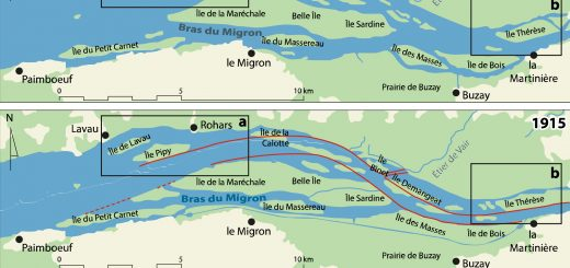 Figure 1. Cartes de localisation des deux secteurs d'étude (a : secteur aval et b : secteur amont) et présentation de l'évolution de l'estuaire depuis 1887 (carte reproduite d'après Verger (2005) avec l'autorisation de l'éditeur).