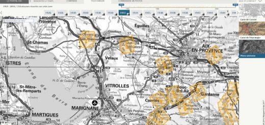 Figure 7. Localisation des prises de vue de la mission choisie.