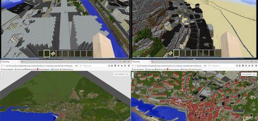Figure 6. Divers paysages de France dans Minecraft : Notre Dame de Paris, Mont Saint-Michel, l'emprise de 5 km sur 5 km obtenue autour de la ville de Cassis et un zoom sur la zone du port de Cassis.