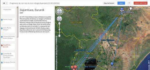 Figure 2. Capture d'écran de la mise en carte du récit d'Oscar à l'aide de Google Tour Builder (carte accessible sur Internet : bit.ly/1VWMlVQ).