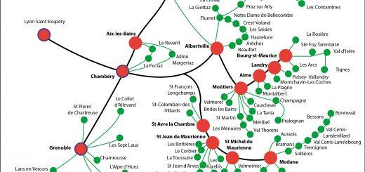Figure 1. Carte du réseau Altibus ou la rupture de charge du « Pied de Montée » comme fonction piémontine.