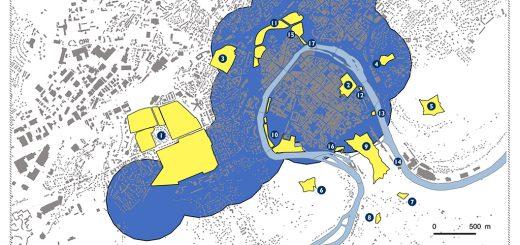 Figure 1. Les zones retenues pour la mise en place d'un scénario de renouvellement urbain compact à Besançon.