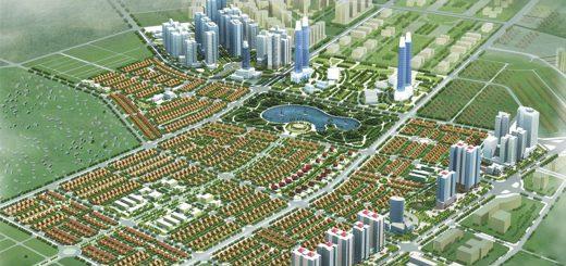 Figure 5. Projet de KDTM Duong Nôi du promoteur Nam Cuong situé dans le district urbain de Ha Dong et en cours de construction. Ce projet s'insère dans un environnement bâti existant non représenté sur cette esquisse de projet. Source : http://www.namcuong.com.vn