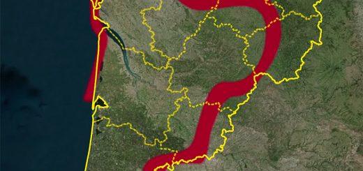 Figure 3. Confrontation entre le tracé stylisé du contour régional inspirant le logotype et les limites administratives de la région et des ses départements.