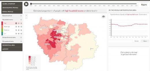 Figure 1. Écran d'accueil du Mobiliscope (Estimation à 4h du matin de la proportion de personnes riches par rapport à l'ensemble de la population présente dans chacun des 109 secteurs de la région Île-de-France).