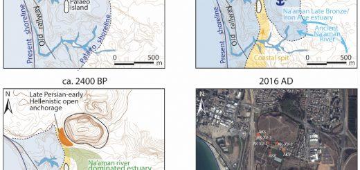 Figure 1. Évolution du trait de côte et localisation des zones d'ancrage de Tel Akko (Israël) au cours du temps. Topographie adaptée à partir de la carte de Treidel (1925-26).