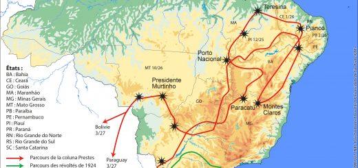 Figure 7. L'itinéraire de la Colonne Prestes.