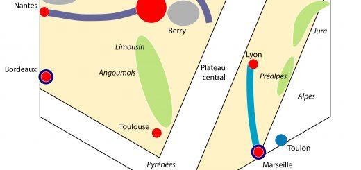 Figure 2. Croquis chorématique de la France dans La Comédie humaine de Balzac.